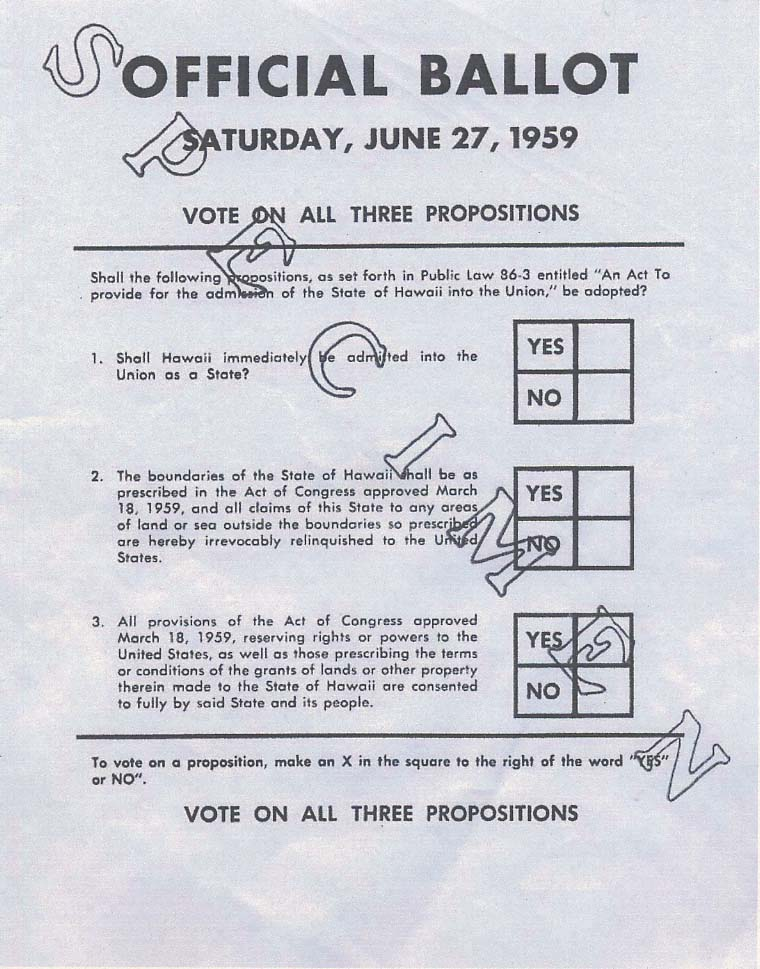 1959 Hawaii Statehood ballot